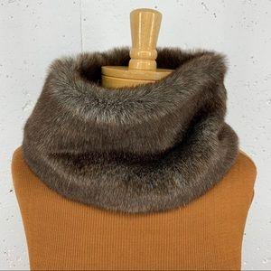 Lands' End Brown Faux Fur Snood Infinity Scarf